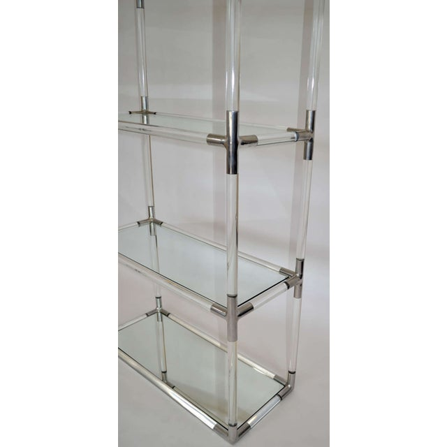 charles hollis jones lucite aluminum etagere chairish. Black Bedroom Furniture Sets. Home Design Ideas