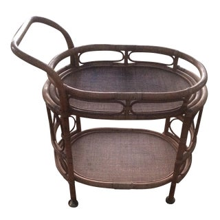 Dark Bamboo Rattan Serving Cart