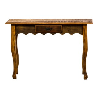 Antique Reclaimed Solid Wood Console Table With Scalloped Apron