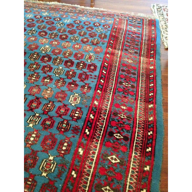"""Antique Blue/Red Persian Tribal Rug - 4'8"""" X 6'5"""" - Image 4 of 9"""