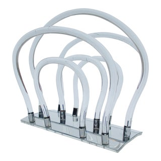 Dorothy Thorpe Sculptural Lucite Magazine Rack