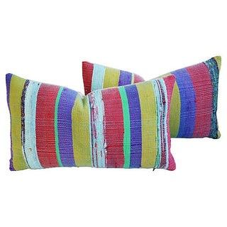 Custom Hand-Looped/Tufted Chindi Pillows - a Pair