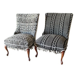 Vintage African Mudcloth Chairs - A Pair