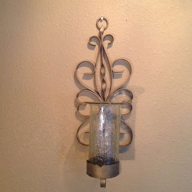 Gold Enameled Candle Sconces with Glass Shades - Image 3 of 5