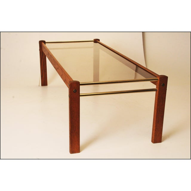 Danish Modern Mid Century Wood Coffee Table With Smoked