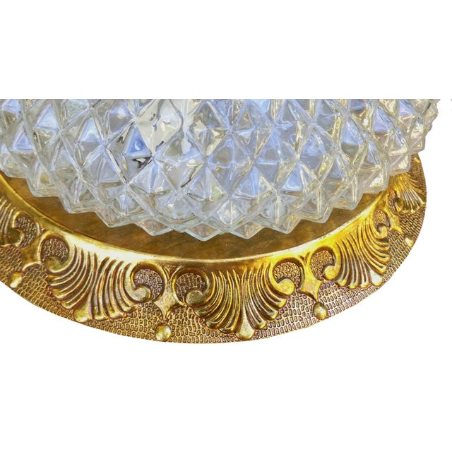 Image of Hollywood Regency Embossed Glass Light Fixture