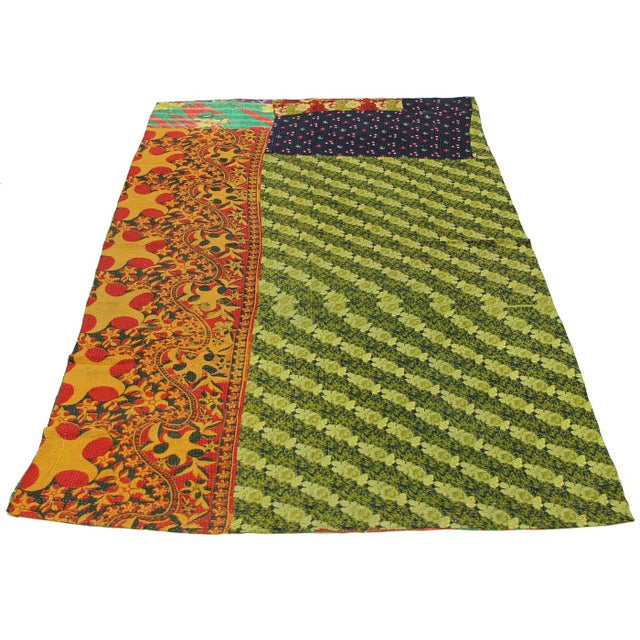 Vintage Lime and Red Kantha Quilt - Image 3 of 3