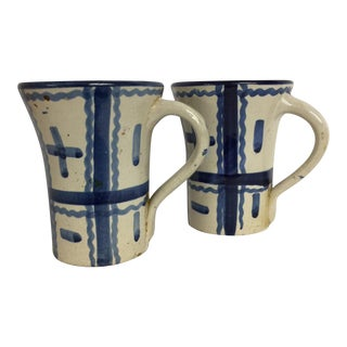 Mid-Century Blue & White Geometric Mugs - Set of 2