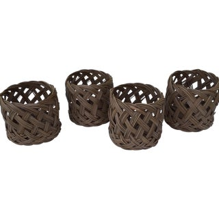 Vintage Woven Basket Cups - Set of 4