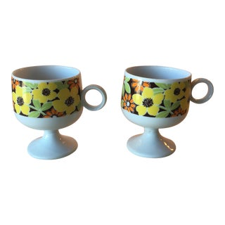 Floral Ceramic Cups - A Pair