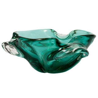 Seguso Mid-Century Murano Bowl in Emerald Green