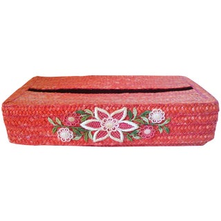 Orange Italian Straw Vanity Facial Tissue Caddy