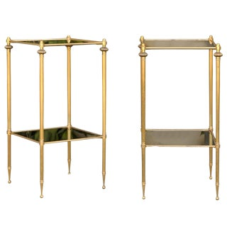 French Vintage Pair of Brass-Framed Two-Tiered Stands with Smoked Glass Shelves