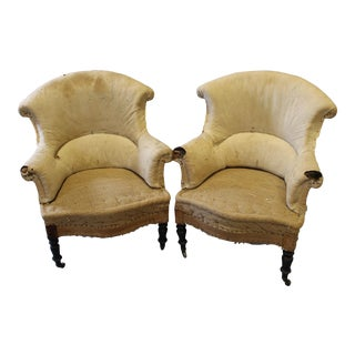 Pair of Napoleon III Upholstered Arm Chairs