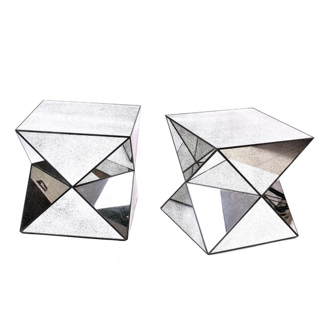 Image of Antiqued Mirror Accent Tables - A Pair