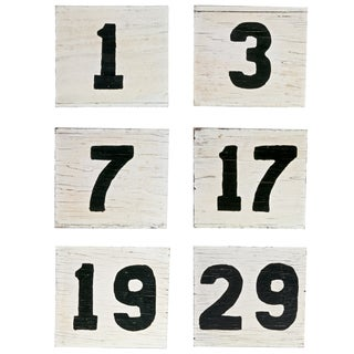 Vintage Two-Sided Wood Sign Numbers - Set of 6