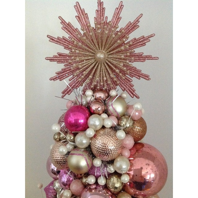 Vintage Pink Pearl Christmas Ornament Topiary Tree - Image 7 of 7