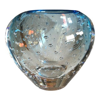 Murano Italian Blue Art Glass Bubble Vase