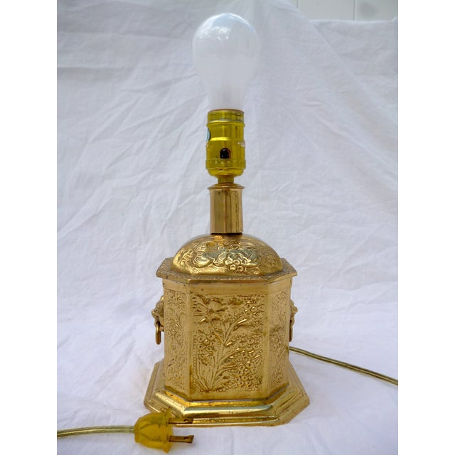 Golden Oriental Style Brass Lamp - Image 2 of 7