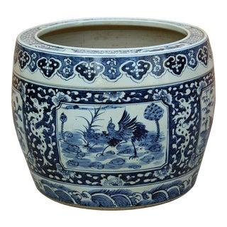 Chinese Vintage Finish Blue White Porcelain Birds Round Pot Planter