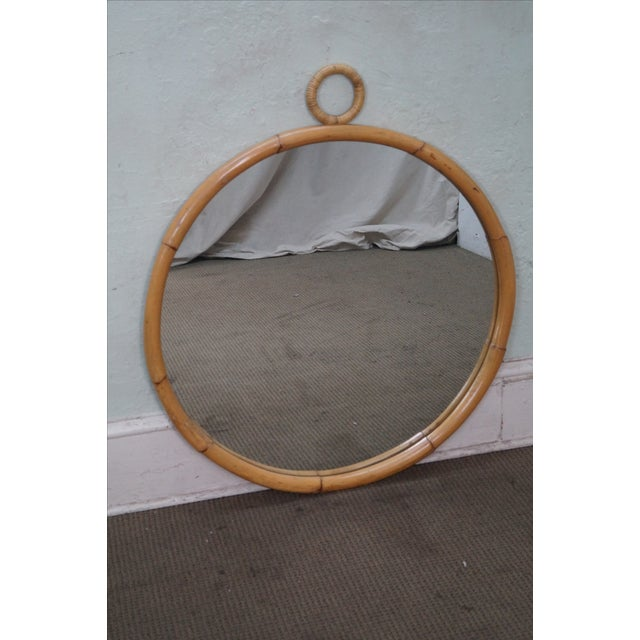 Mid-Century Round Bamboo Wall Mirror - Image 7 of 10