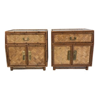 Bamboo & Herringbone Parquet Nightstands - A Pair