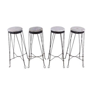 Vintage French Parlor Stools - Set of 4
