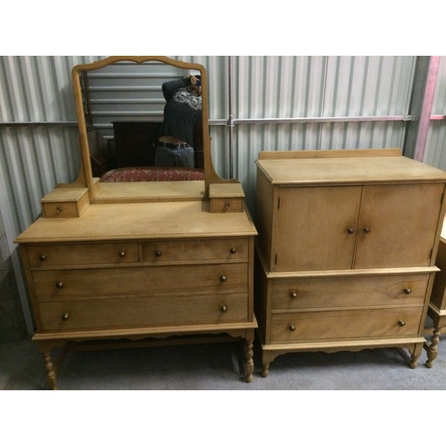 1940's Solid Wood Dresser with Mirror - Image 9 of 9