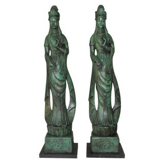 Monumental Chinese Goddesses 1940's-50's - a Pair