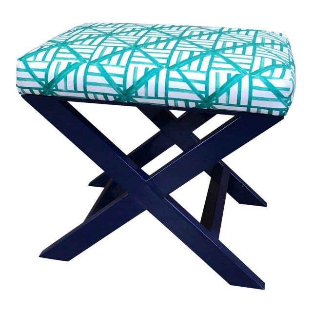 Taylor Burke Home Navy X Brooke Wright Designs Bench - Image 1 of 3