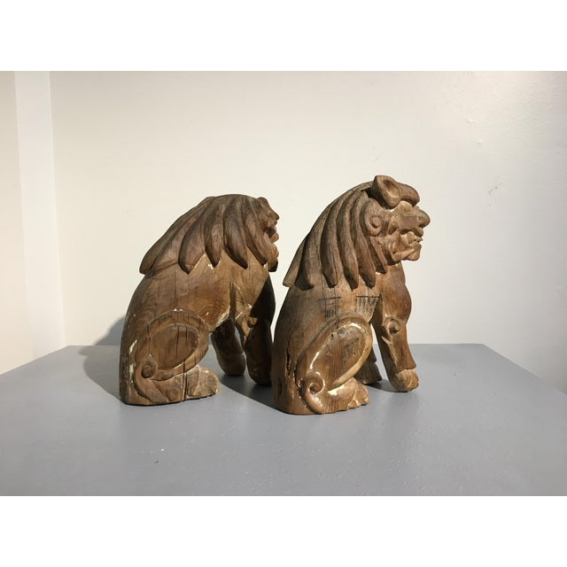 Pair Japanese Edo Period Carved Wood Komainu, early 19th century - Image 6 of 11