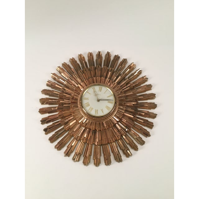 Mid-Century Syroco Sunburst Wall Clock - Image 2 of 11