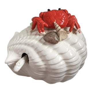 Vintage Crab on Seashell Tureen With Laddle