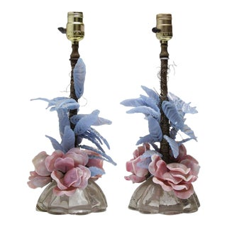 """Mid-Century Italian Pink Rose """"Blossom & Foliage"""" Lamps - A Pair"""