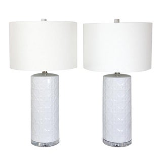 Vintage White Basketweave Lamps - A Pair