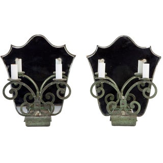 French Art Deco Shield Mirror Back Sconces - Pair