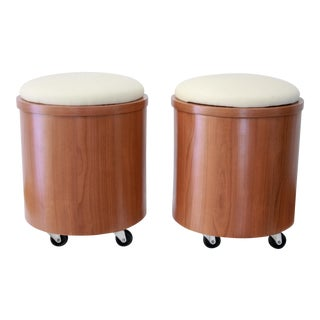 Cylindrical Teak Laminate Stools - A Pair