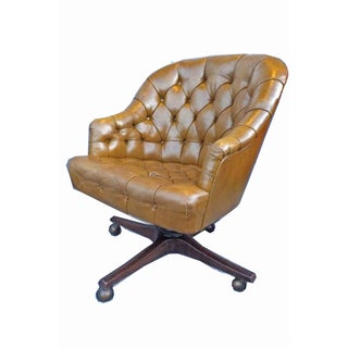 Chesterfield Khaki Leather Barrel Office Chair