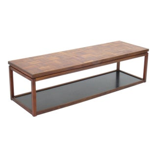 Mid-Century Modern Jack Cartwright Attributed Parquet Topped Rectangle Coffee Table