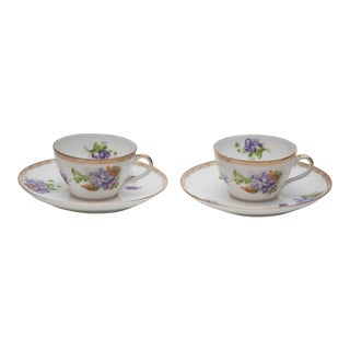 Imperial Russian Kuznetsov Cups & Saucers- 4 Pieces