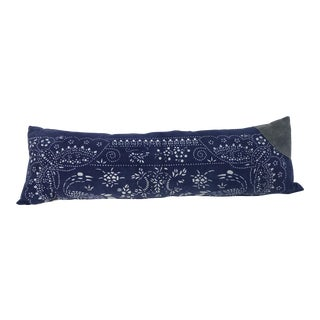 Asian Indigo Batik Lumbar Pillow