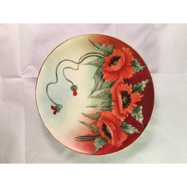 Limoges France Decorative Poppy Plate - Image 3 of 8