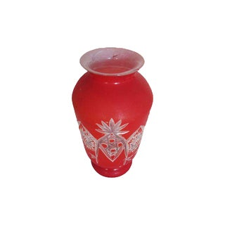 Vintage Red and White Cameo Glass Style Vase
