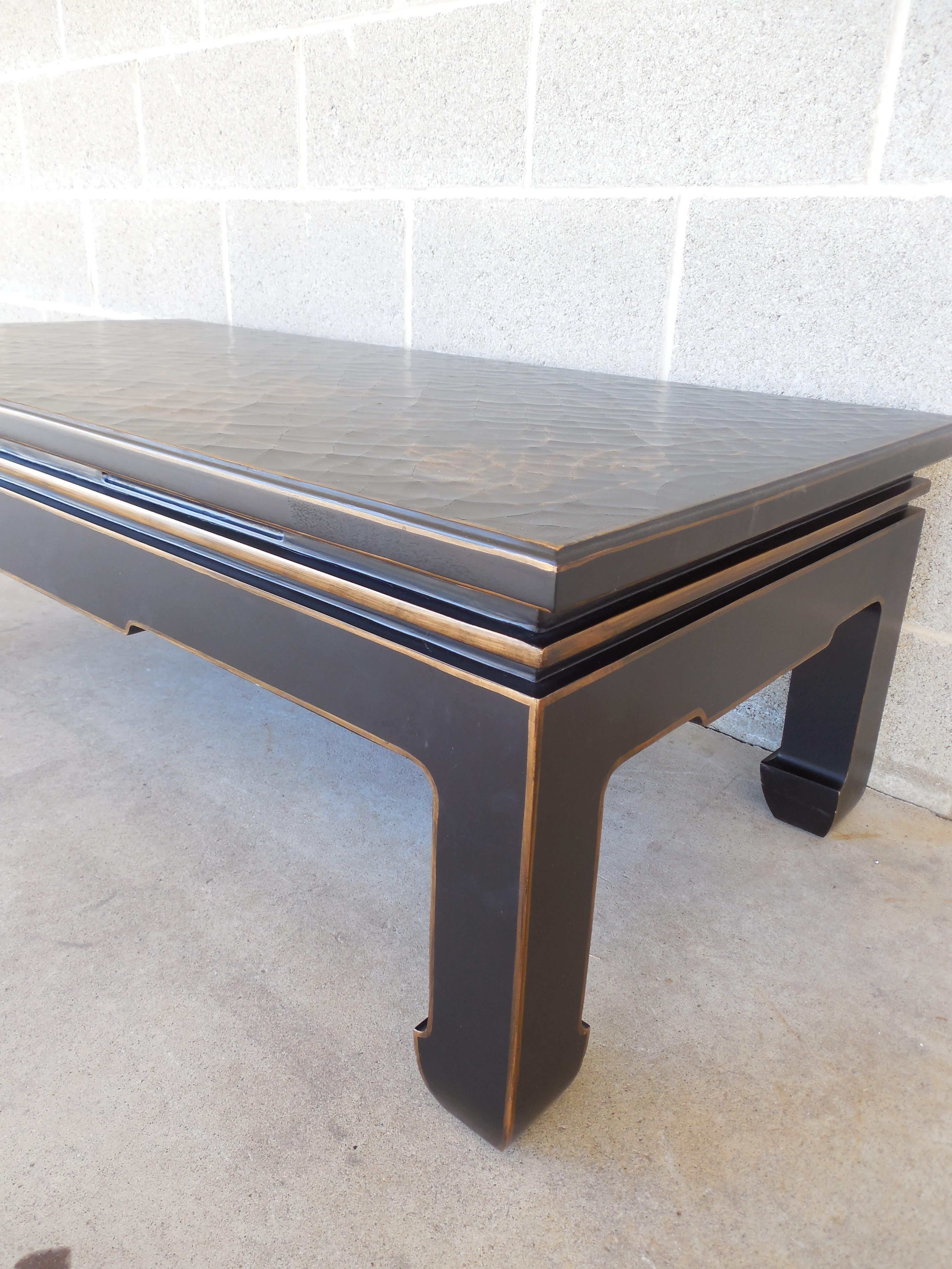 Asian-Style Crackled Cocktail Table | Chairish