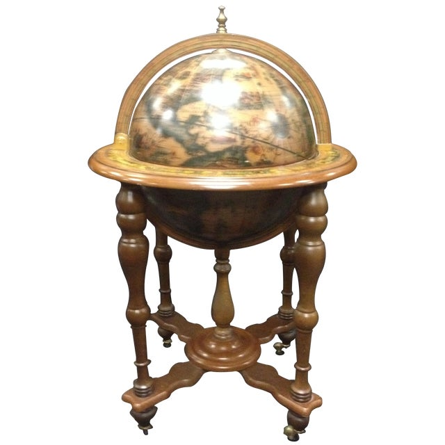 Image of Vintage Mid-Century Rotating Old World Globe Bar