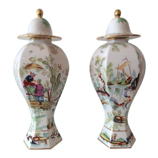 Vintage Hollywood Regency Chinoiserie Ginger Jars - A Pair