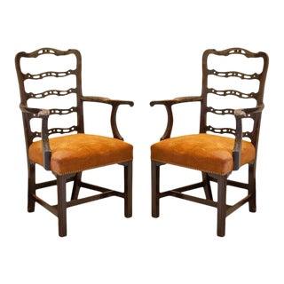 Pair of Mahogany Ladder Back Chairs