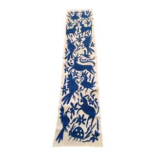 Mexican Handmade Blue Otomi Table Runner