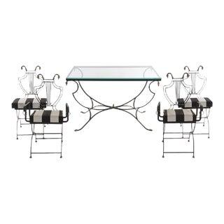 Art Deco Style Bronze & Iron Swan Set - Set of 5