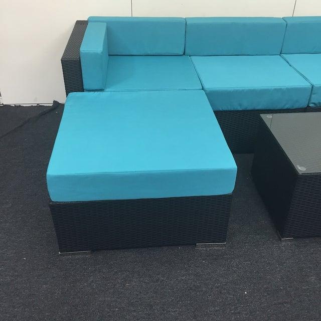 Turquoise Wicker Patio Set - Image 5 of 9
